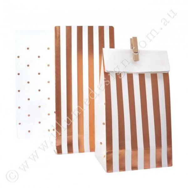 Born To Party - Modern Balloons and Partyware - Rose Gold Stripes and Dot Treat Bag