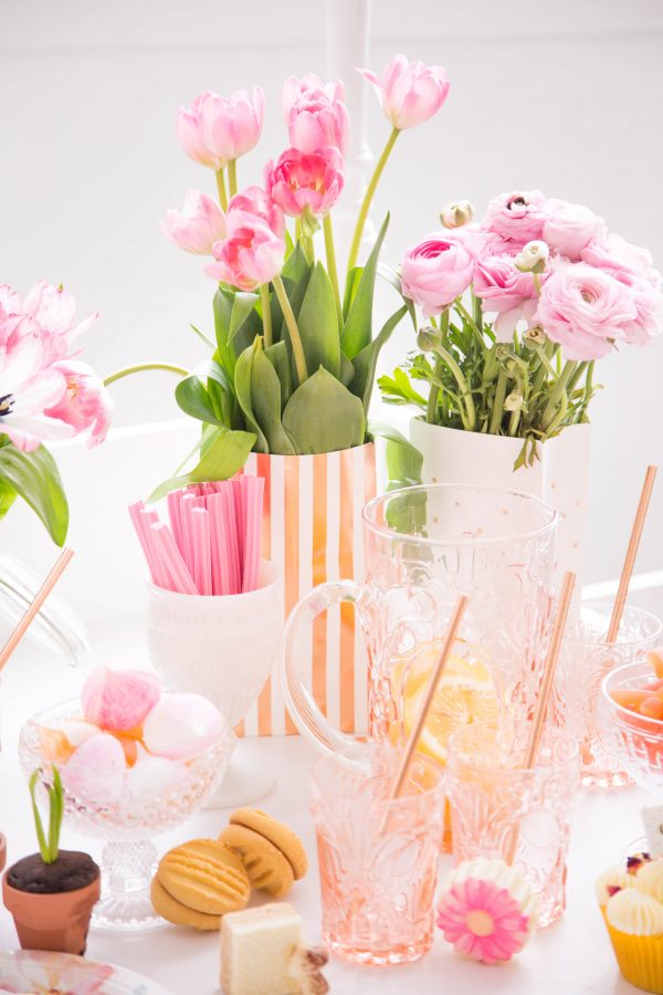 Born To Party - Modern Balloons and Partyware - Rose Gold Stripes and Dot Treat Bag - Sweet Magazine Shoot
