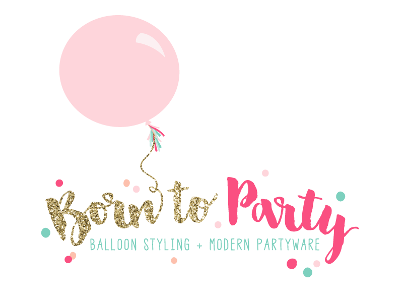 Modern partyware and balloons.
